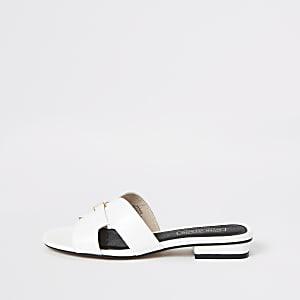 White flat mule sandal