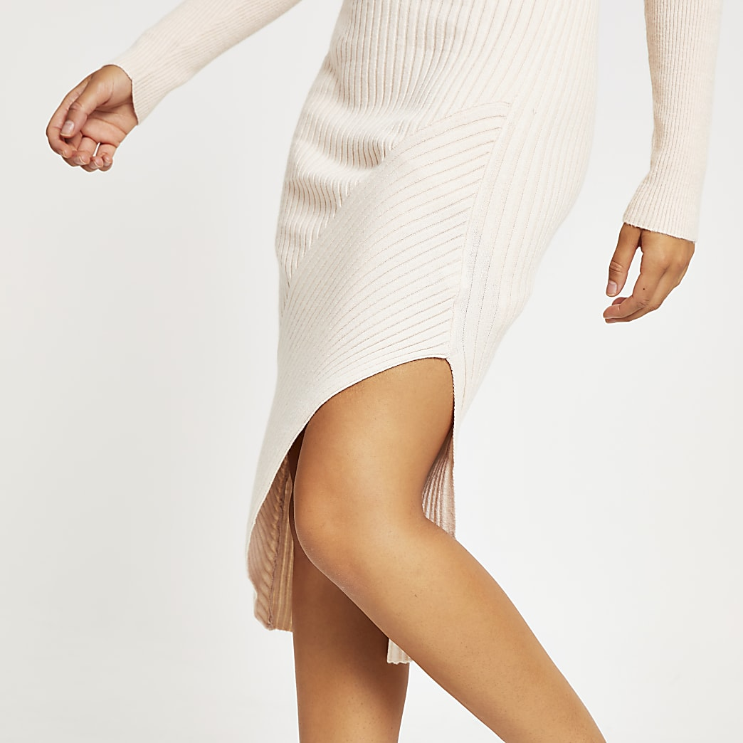 Cream asymmetric ribbed knit midi skirt
