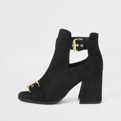 Black faux suede square toe shoe boots