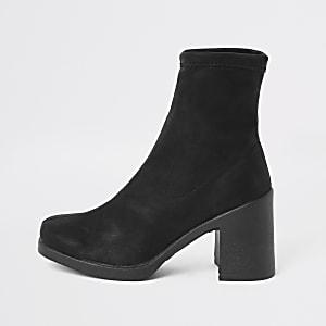 Zwarte sock boots met blokhak