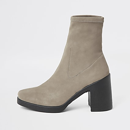 Dark grey block heel sock boots