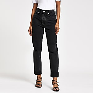 RI Petite - Zwarte mom jeans met scheuren en hoge taille