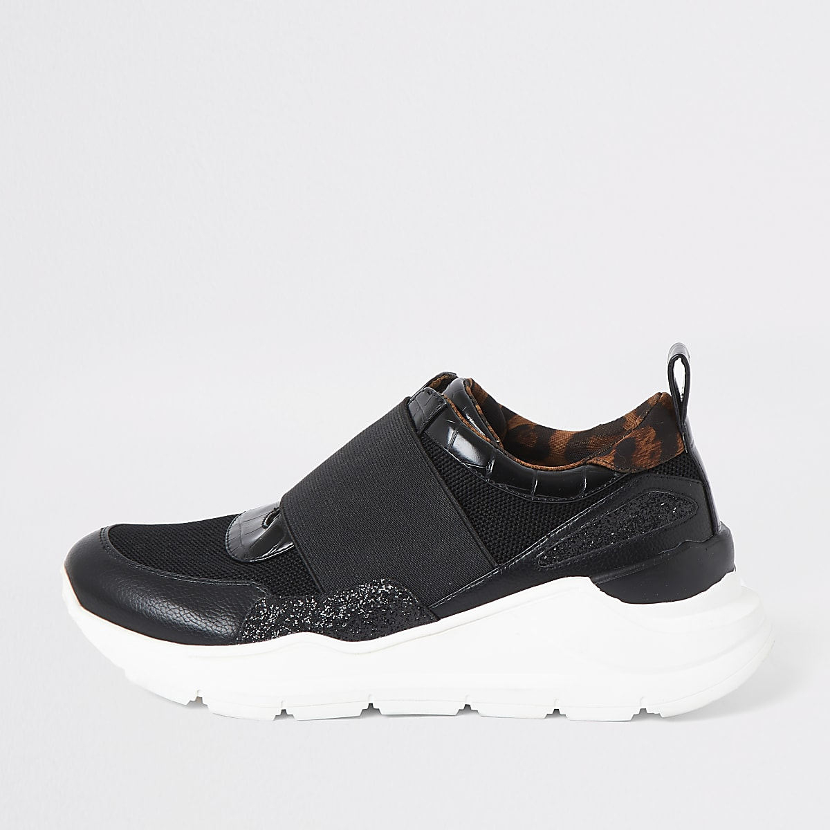 Black elasticated runner trainers