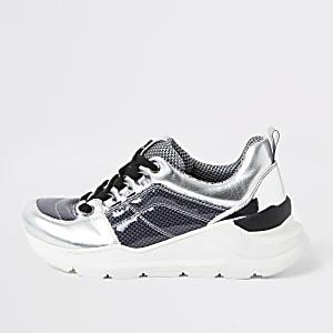 Zilverkleurig metallic sneakers met vetersluiting