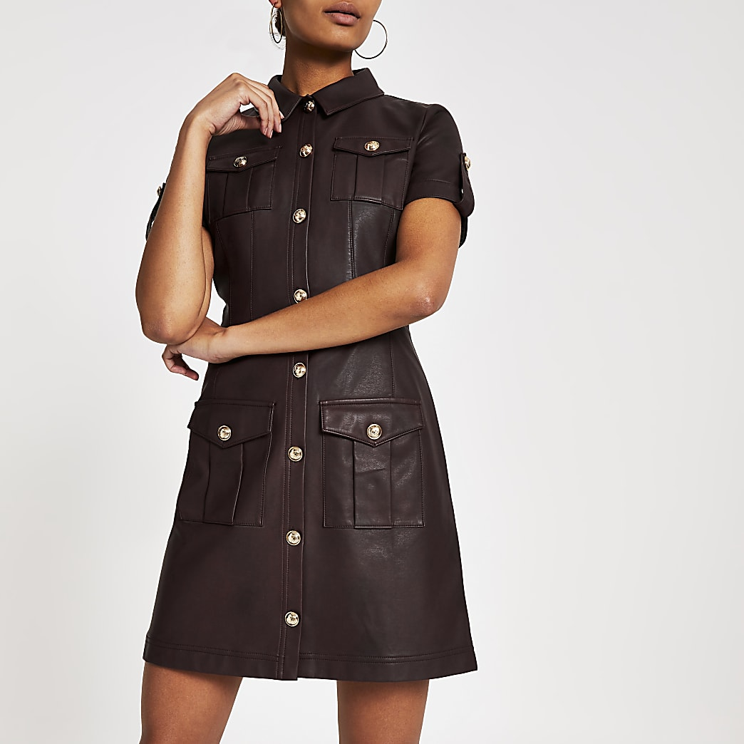 Dark red faux leather shirt dress