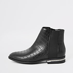 Bottines grain croco noires