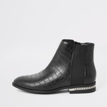 Black croc embossed ankle boots