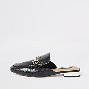 Black backless leather snaffle loafers