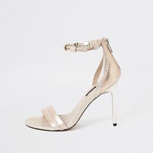Sandales roses à talon aiguille avec bride de cheville à strass