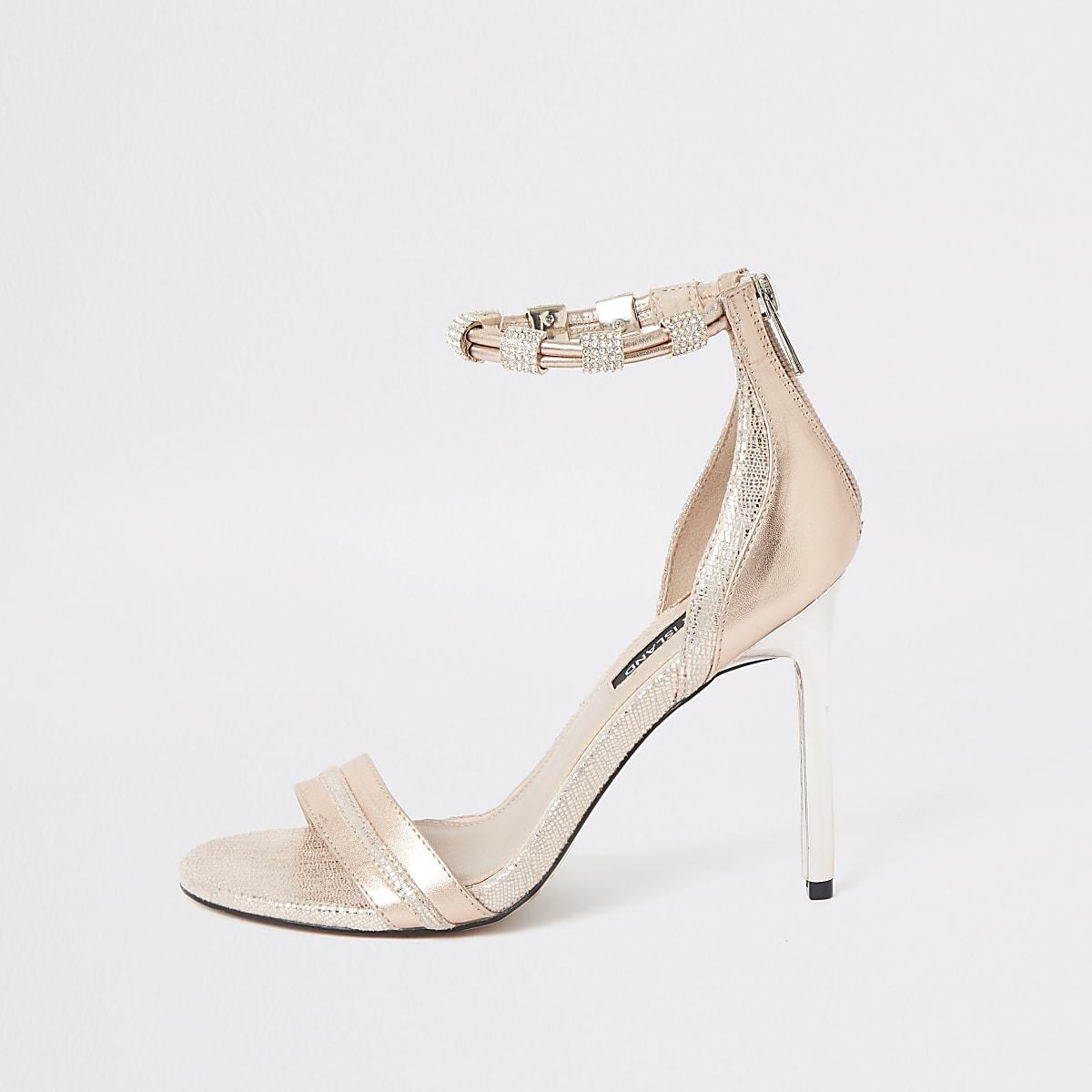 Roze sandalen met hoge hak en diamanté enkelbandje