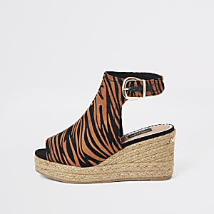 Brown wide fit printed espadrille wedges