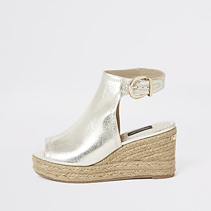 Gold wide fit espadrille wedges