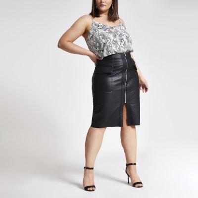 Plus black faux leather utility pencil skirt