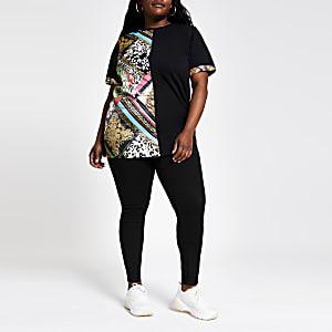 Plus – T-shirt noir à imprimés variés