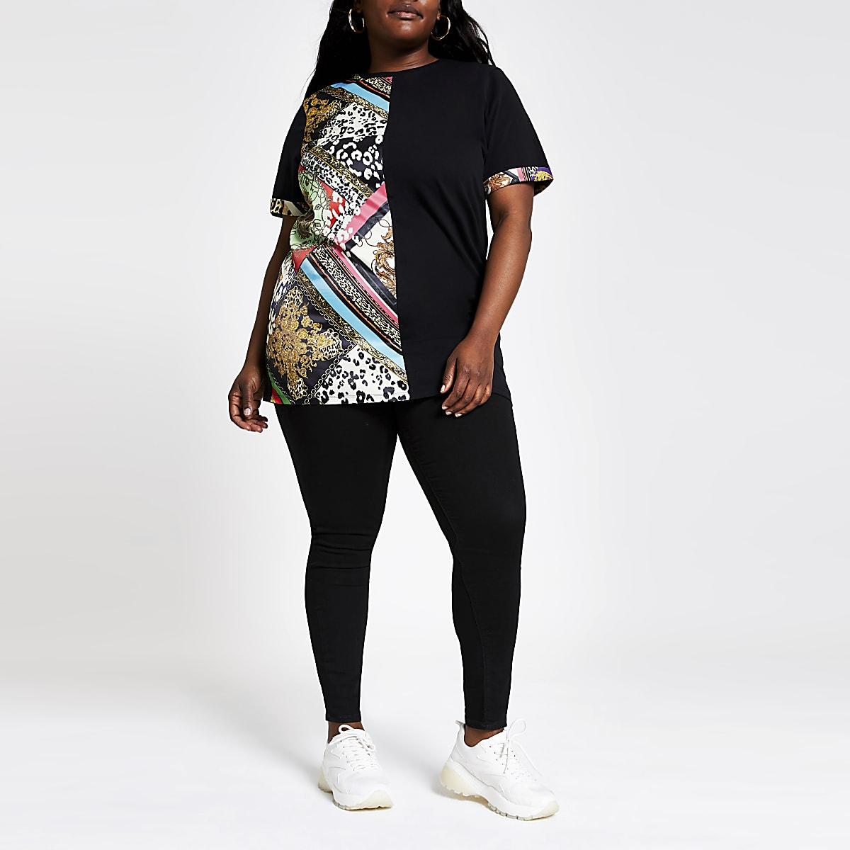 Plus black multi print jumbo T-shirt