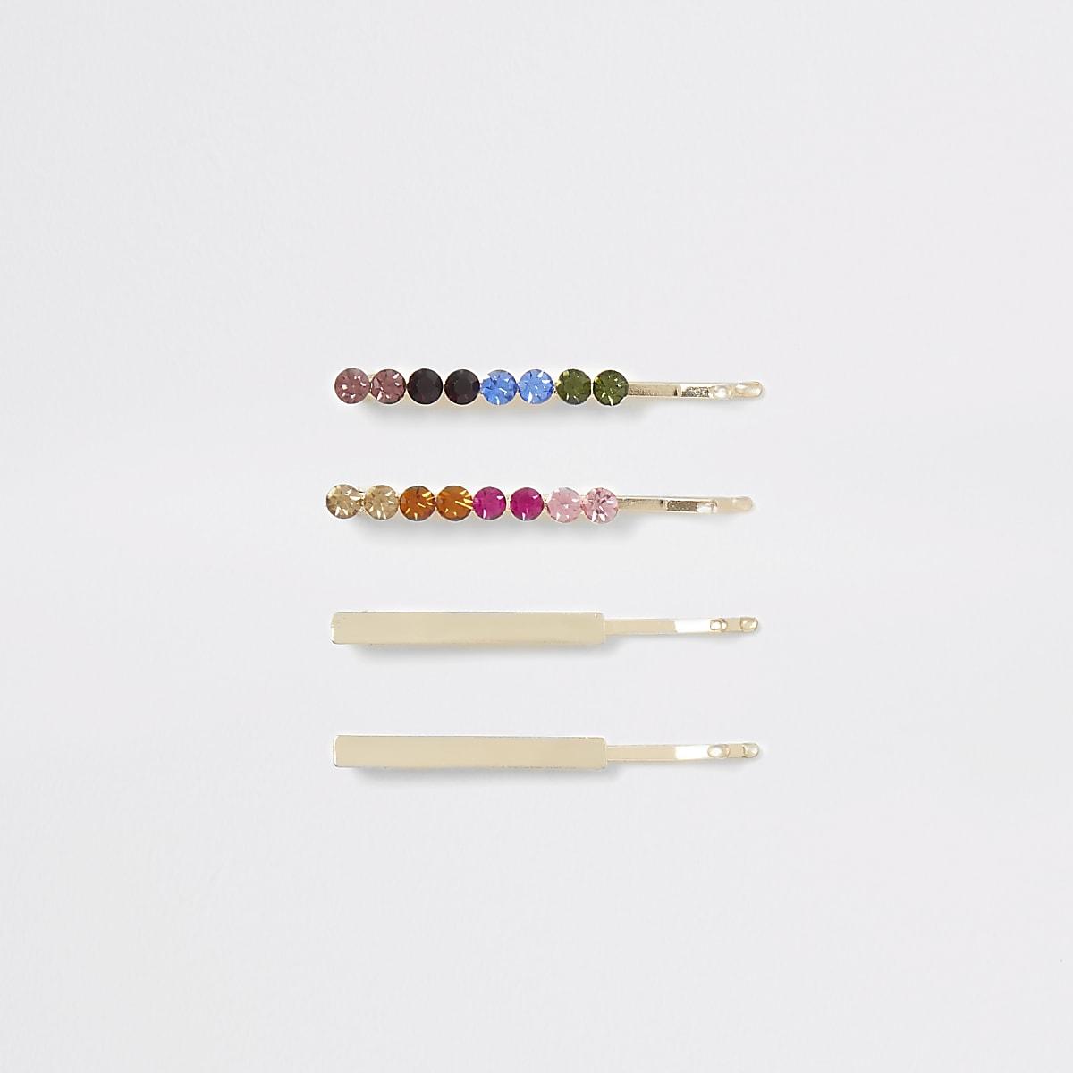 Gold colour rainbow gem hair slide multipack