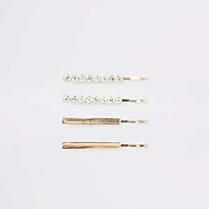 Gold colour diamante hair slides