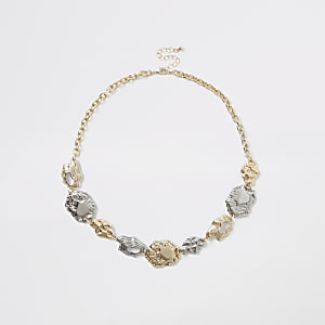 Gold and silver color coin necklace