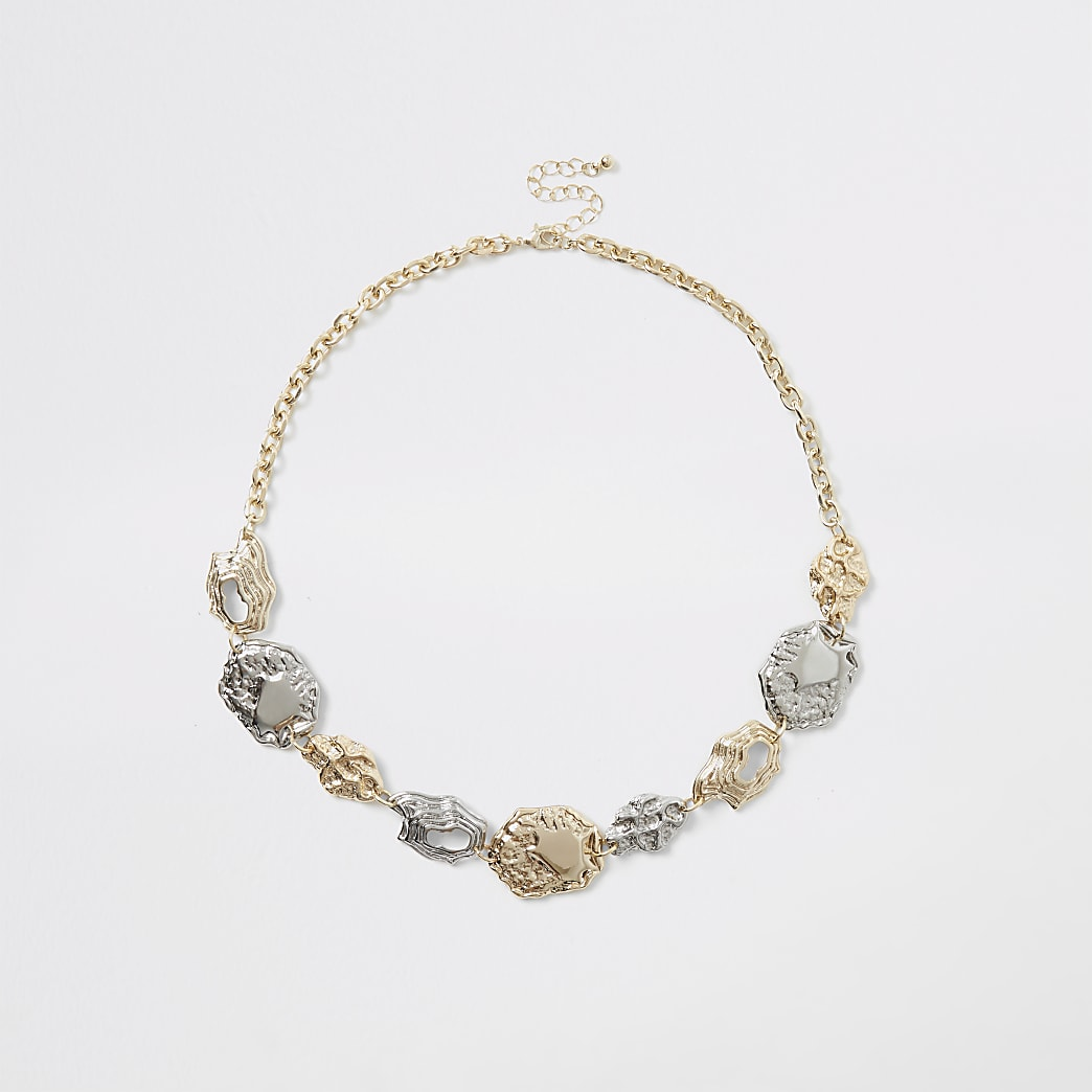 Gold and silver colour coin necklace