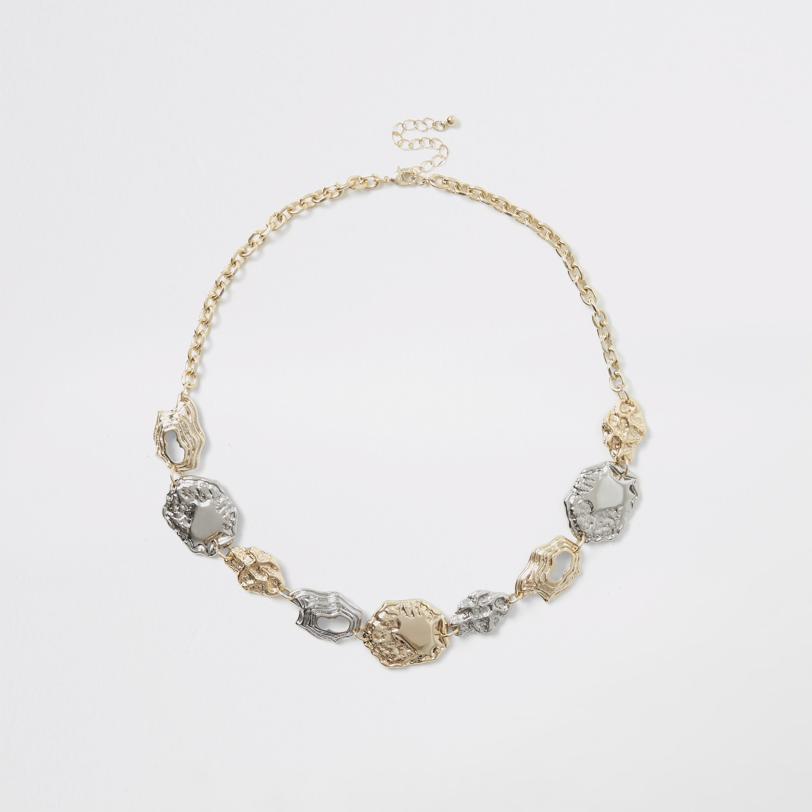 RIVER ISLAND | Womens Gold And Silver Colour Coin Necklace | Goxip