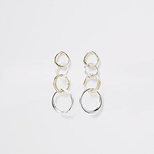 Silver and gold color ring drop earrings