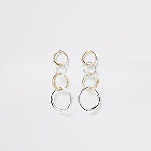 Pendants d'oreilles anneaux argentés et dorés