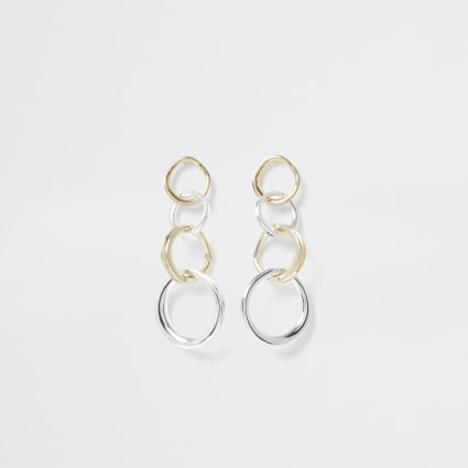 Silver and gold colour ring drop earrings