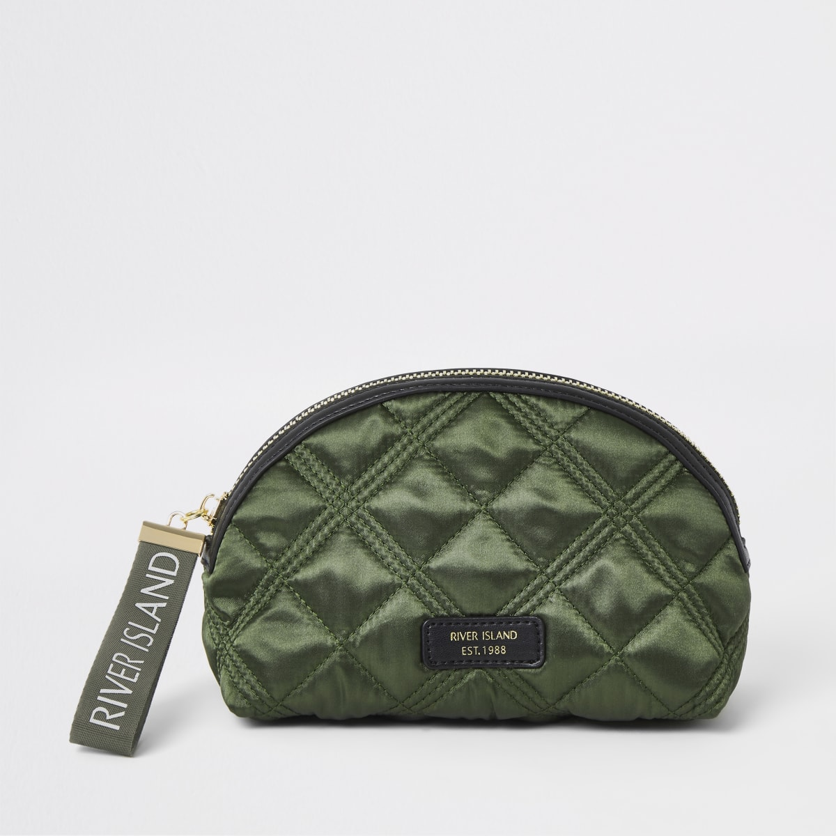 Khaki quilted make up bag
