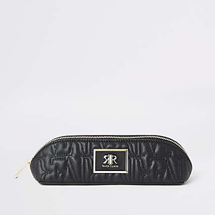 Black RI stitch makeup brush bag