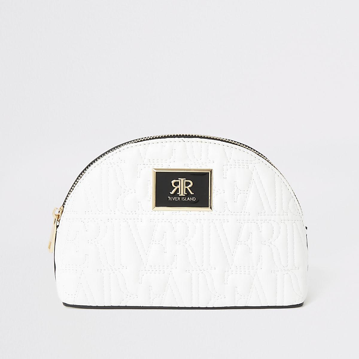 White RI embossed makeup bag