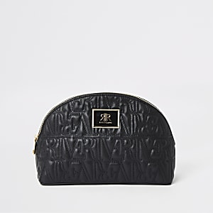 Black RI monogram zip top makeup bag