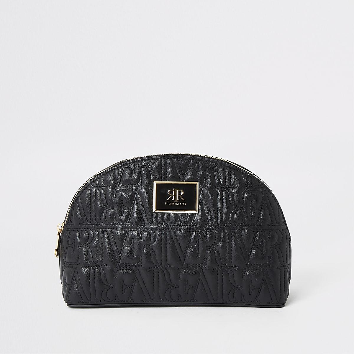 Zwarte make-uptas met RI-logo en rits in de bovenkant