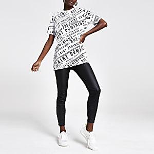 T-shirt imprimé blanc à bordure ornée