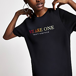Pride – T-shirt noir avec inscription  « We are one »