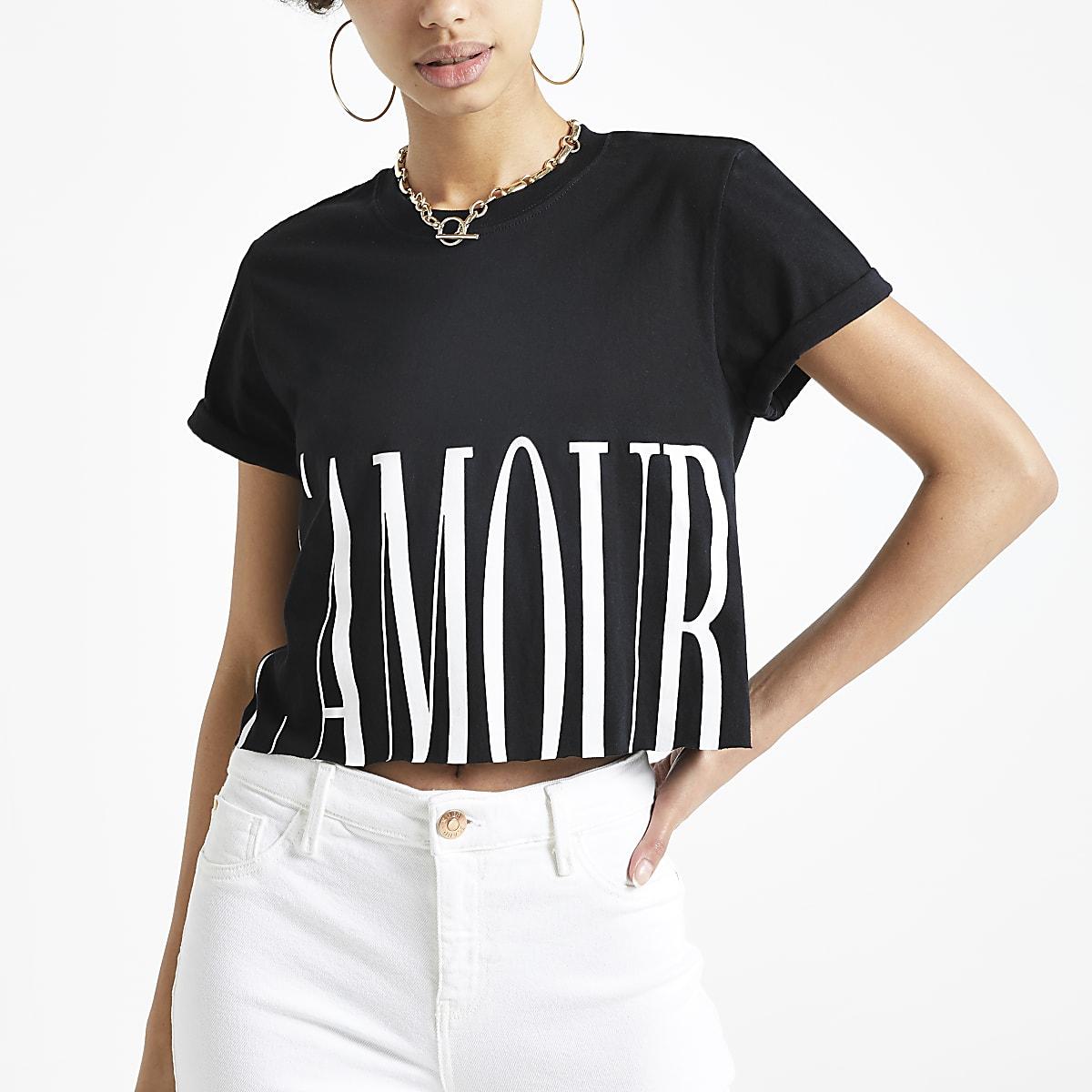 Black 'L'amour' printed crop T-shirt