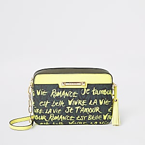 Khaki graffiti print cross body bag