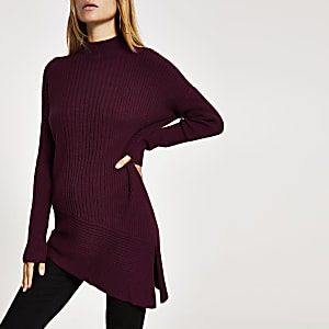 Dark red high neck asymmetric knitted jumper