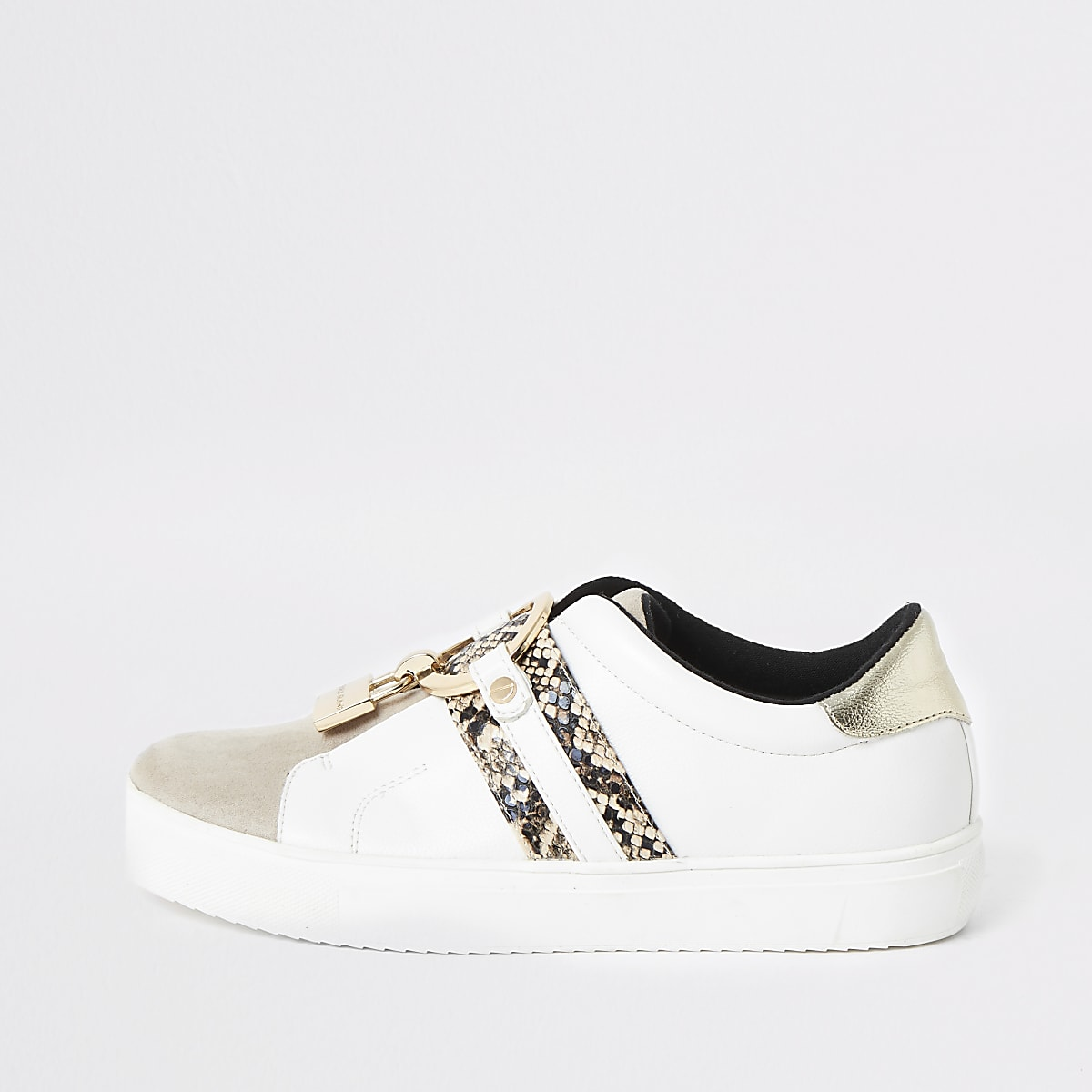White padlock slip on plimsoll