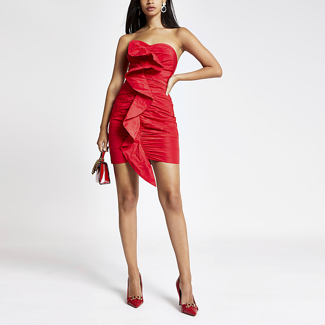 Red ruched front bandeau bodycon dress