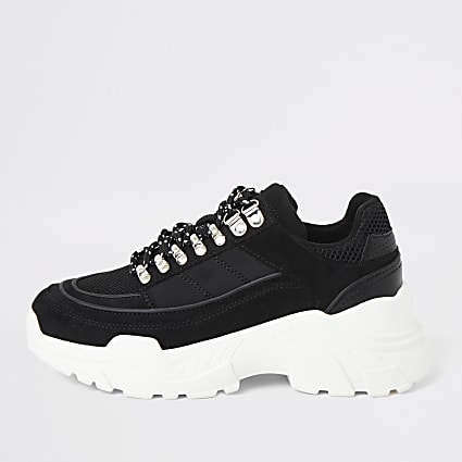 Black hiker chunky trainers