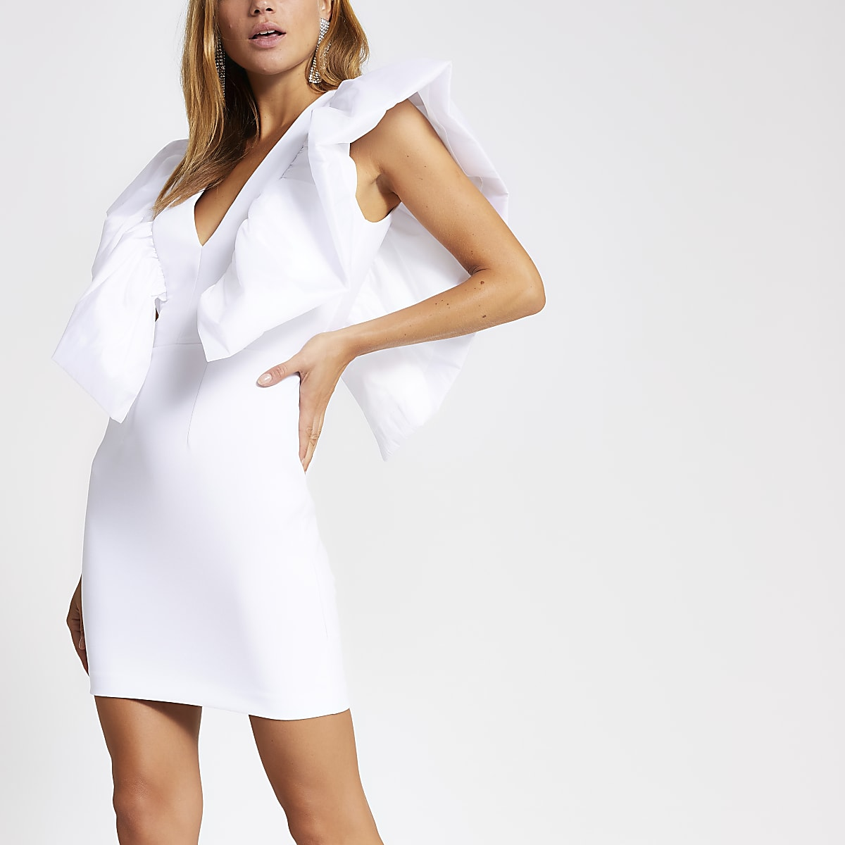 White puff sleeve bodycon taffeta dress