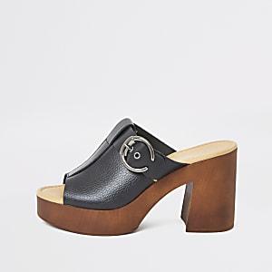 Black leather buckle block heel mules