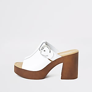 White leather buckle block heel mules