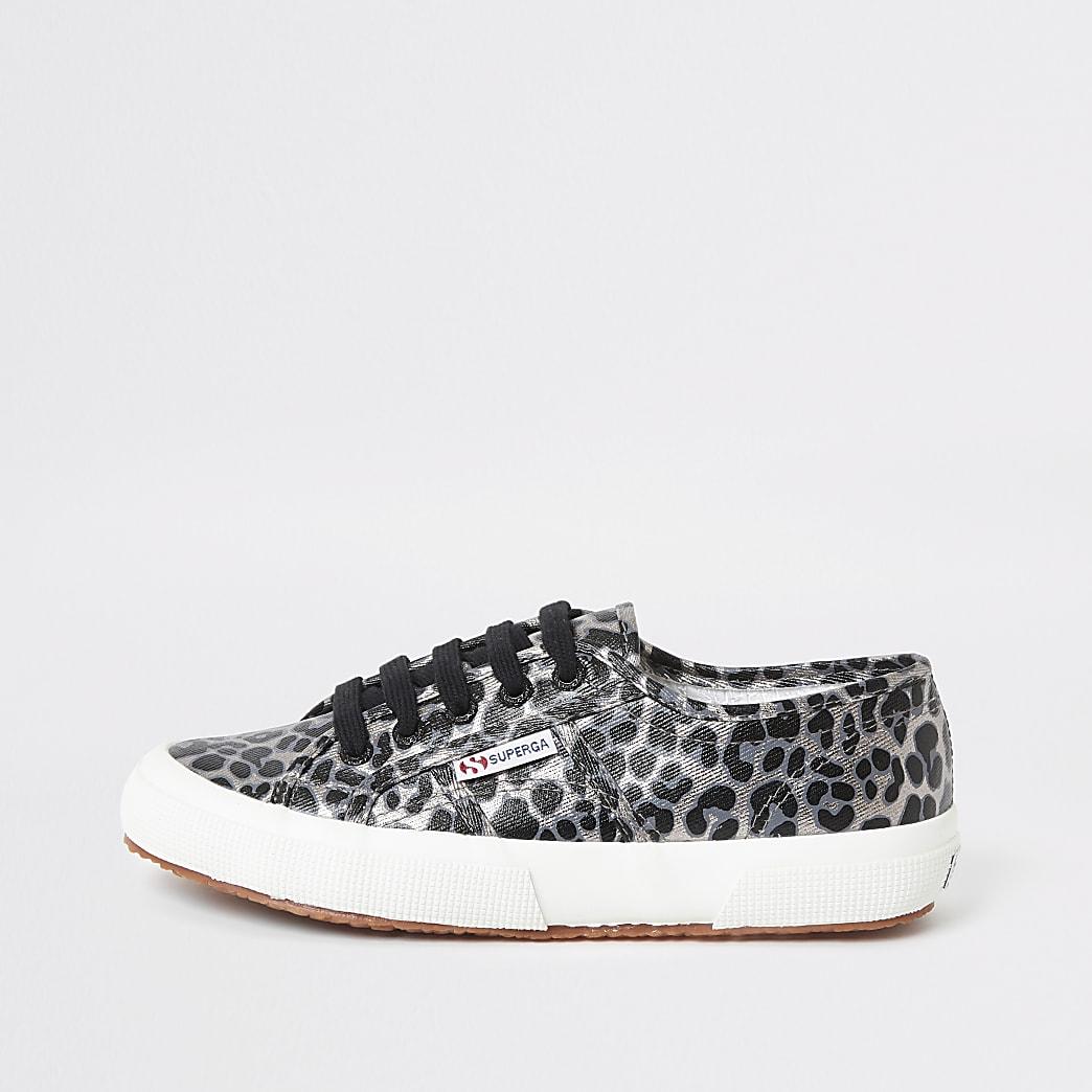 Superga silver leopard print runner trainers
