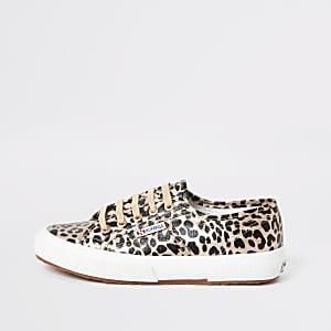 Superga – Goldene Lauf-Sneaker mit Leopardenprint