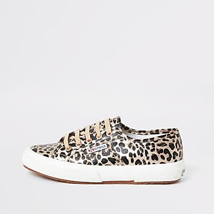 Superga gold leopard print runner trainers