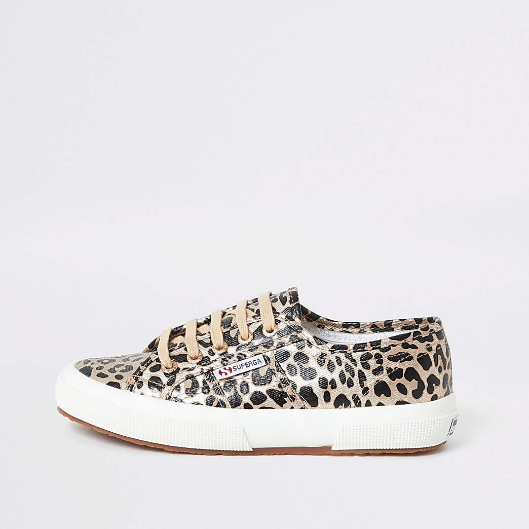 Superga gold leopard print runner trainers