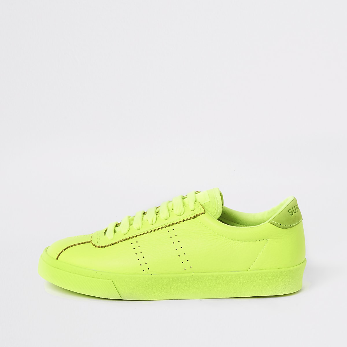 Superga bright green lace-up runner trainer