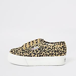 Superga – Beige Sneaker mit Plateauabsatz im Leopardenmuster