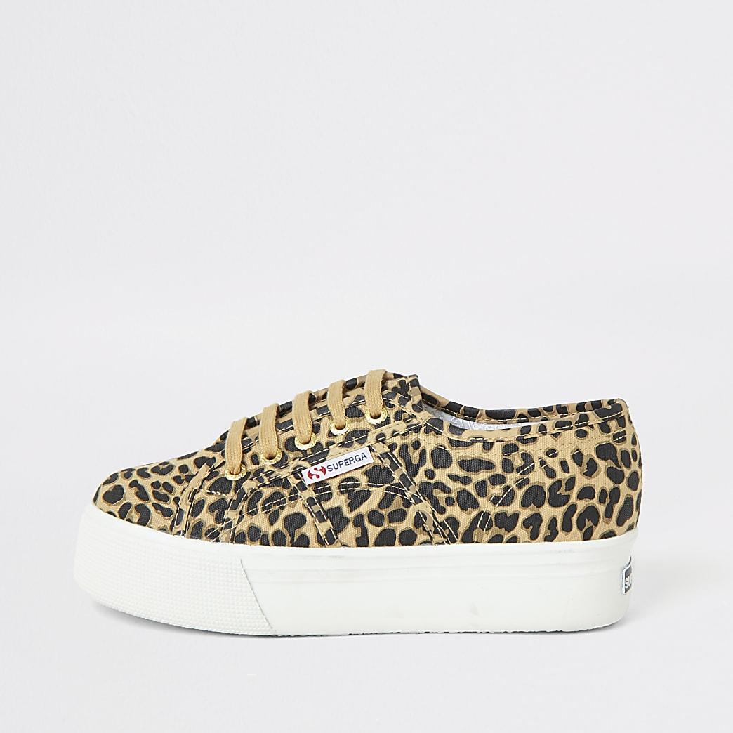 Superga- Beige platform sneakers met luipaardprint